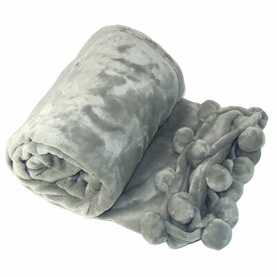 Flannel Fleece Pom Pom Throw Blanket Color: Silver Gray