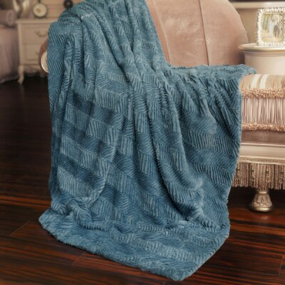 Herringbone Jumbo Over Sized Throw Blanket Color: Blue