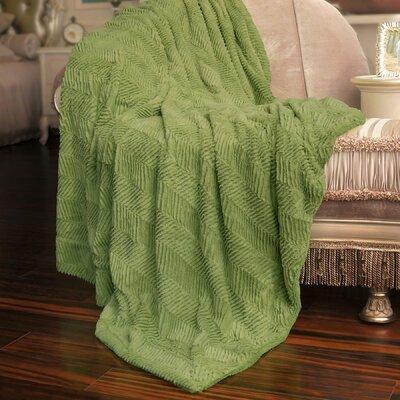 Herringbone Faux Fur Throw Blanket Color: Dark Citron