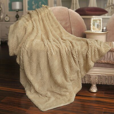 Herringbone Faux Fur Throw Blanket Color: Beige