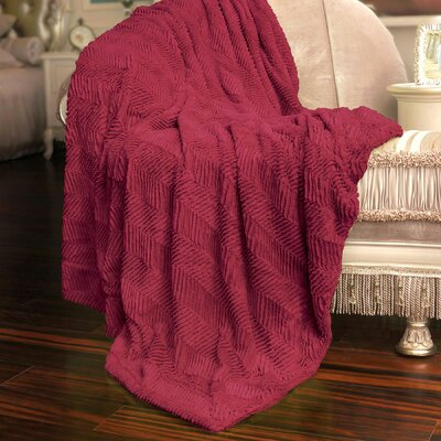 Herringbone Faux Fur Throw Blanket Color: Chilli Pepper