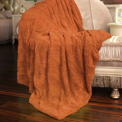 Herringbone Faux Fur Throw Blanket Color: Burnt Orange