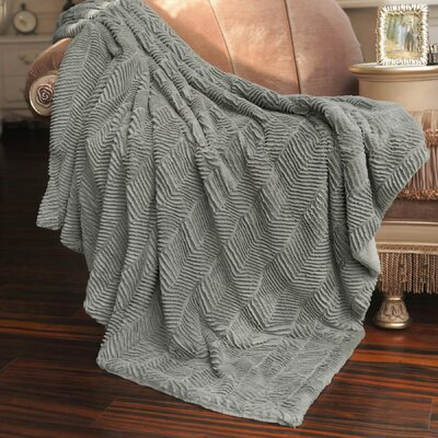 Herringbone Faux Fur Throw Blanket Color: Silver