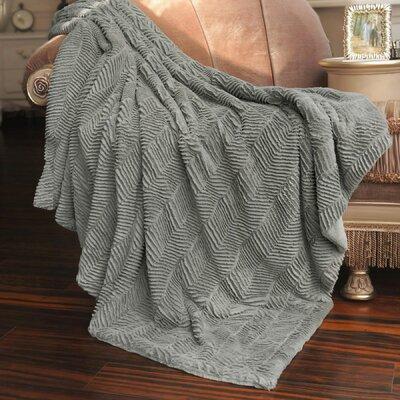 Herringbone Faux Fur Throw Blanket Color: Silver