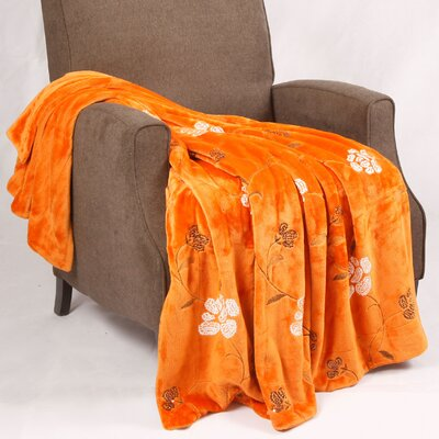 Sequin Embroidered Polyester Throw Blanket Color: Burnt Orange