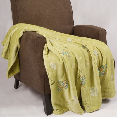 Sequin Embroidered Polyester Throw Blanket Color: Green