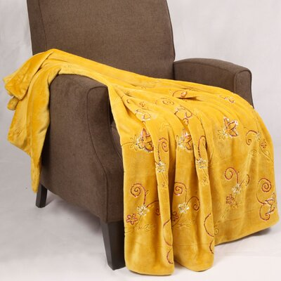 Sequin Embroidered Polyester Throw Blanket Color: Lemon Curry