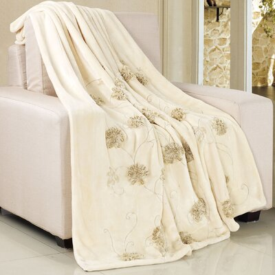 Ribbon Sequin Embroidered Terelyene Throw Blanket Color: Beige