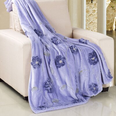 Ribbon Sequin Embroidered Terelyene Throw Blanket Color: Light Purple