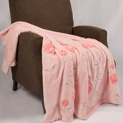 Ribbon Sequin Embroidered Terelyene Throw Blanket Color: Pink