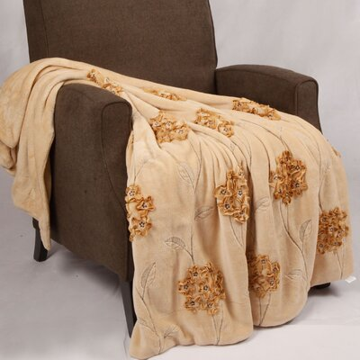 Ribbon Sequin Embroidered Terelyene Throw Blanket Color: Taupe