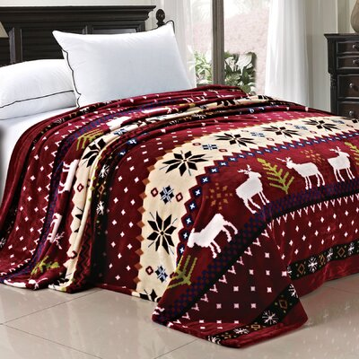 Christmas Snowflake Deer Fleece Throw Blanket Color: Burgundy Christmas Deer, Size: Twin