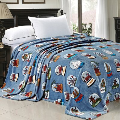 Cities of the World Fleece Blanket Color: Blue, Size: 90 x 90