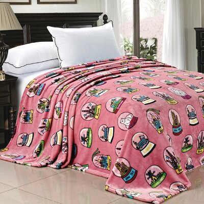 Cities of the World Fleece Blanket Color: Pink, Size: 90 x 60
