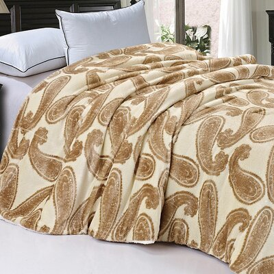 Safari Animal Nature Faux Fur and Sherpa Queen Size Blanket Color: Amphora Big Paisley