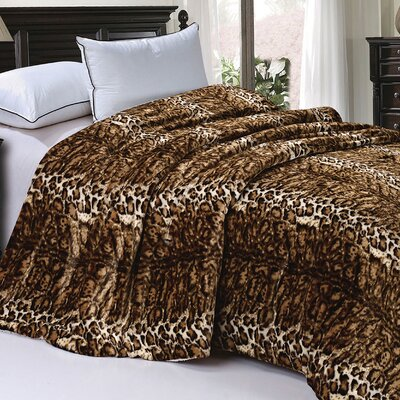 Safari Animal Nature Faux Fur and Sherpa Queen Size Blanket Color: ML Natural Leopard
