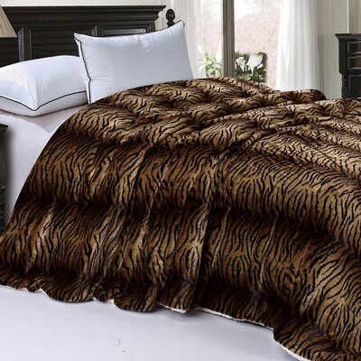 Safari Animal Nature Faux Fur and Sherpa Queen Size Blanket Color: Tiger