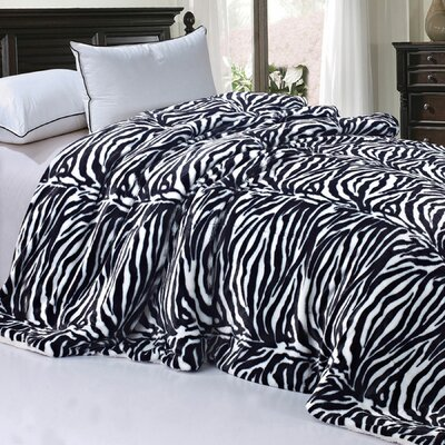Safari Animal Nature Faux Fur and Sherpa Queen Size Blanket Color: Zebra