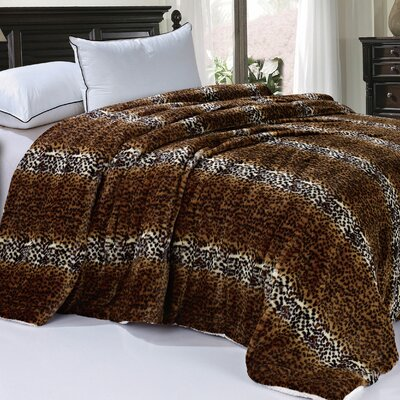 Safari Animal Nature Faux Fur and Sherpa Queen Size Blanket Color: Cheetah