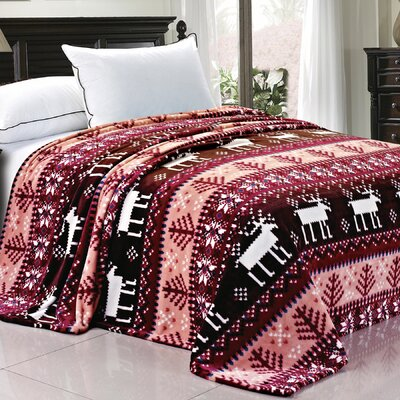 Snowflake Deer Fleece Throw Blanket Color: Burgundy Snowflake Deer, Size: Queen
