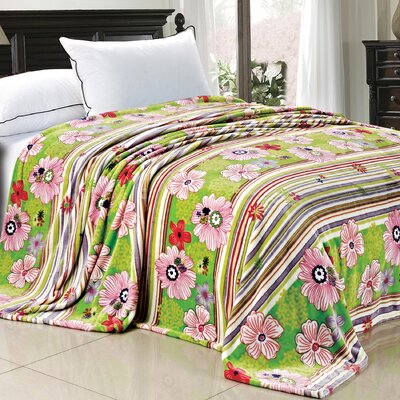 Blossom Flower Flannel Fleece Blanket Color: Green, Size: Queen