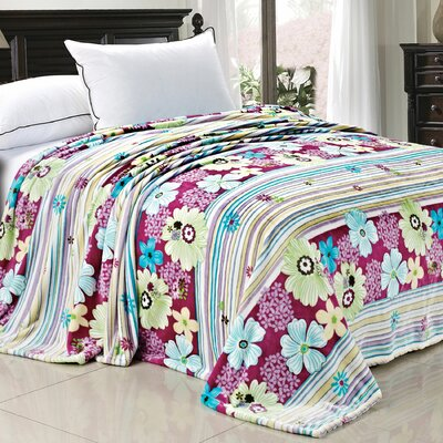 Blossom Flower Flannel Fleece Blanket Color: Lilac, Size: Queen