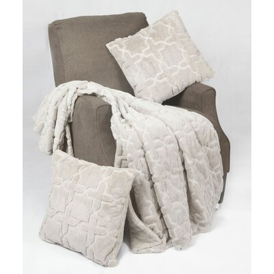 Tatami 3 Piece Geo Faux Fur Throw Blanket Set Color: Silver