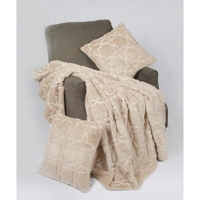 Tatami 3 Piece Geo Faux Fur Throw Blanket Set Color: Humus