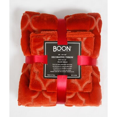 Tatami 3 Piece Ogee Faux Fur Throw Blanket Set Color: Burnt Orange