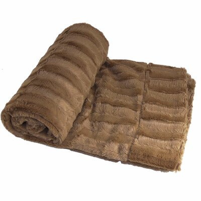 Saga Double Sided Faux Fur Throw Blanket Color: Taupe