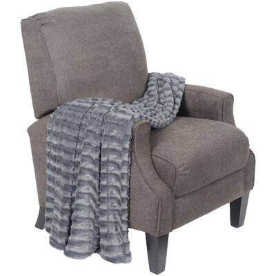 Saga Double Sided Faux Fur Throw Blanket Color: Pewter