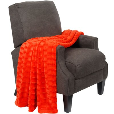 Saga Double Sided Faux Fur Throw Blanket Color: Red Orange