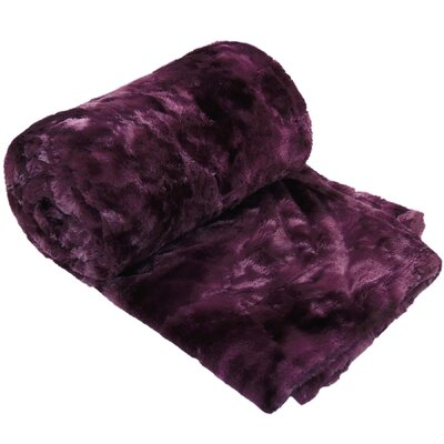 Tie Dye Double Sided Faux Fur Throw Blanket Color: Purple