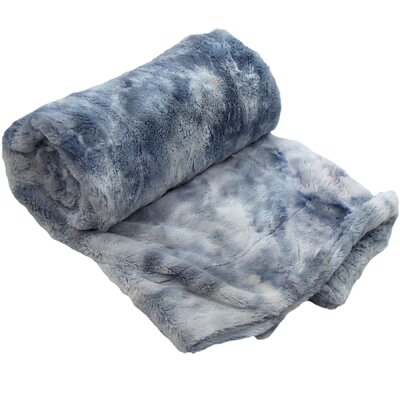 Tie Dye Double Sided Faux Fur Throw Blanket Color: Blue