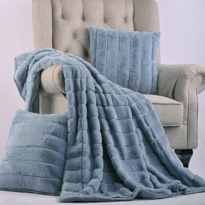 Luxury Rabbit Faux Fur Throw Color: Ashley Blue