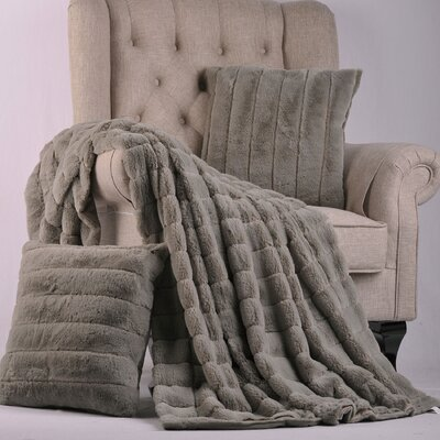 Luxury Rabbit Faux Fur Throw Color: Silver