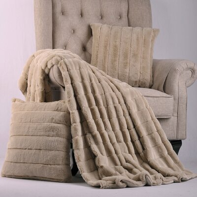 Grenville Rabbit Faux Fur Throw Color: Oatmeal