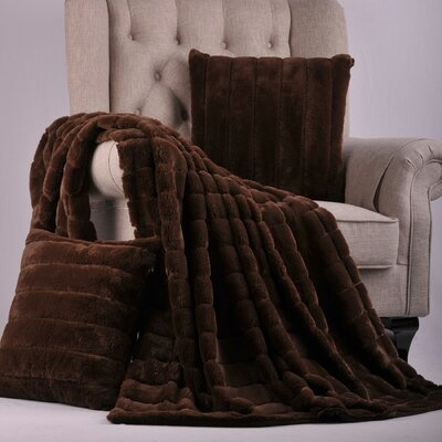 Luxury Rabbit Faux Fur Throw Color: Carafe