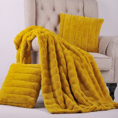 Grenville Rabbit Faux Fur Throw Color: Lemon Curry