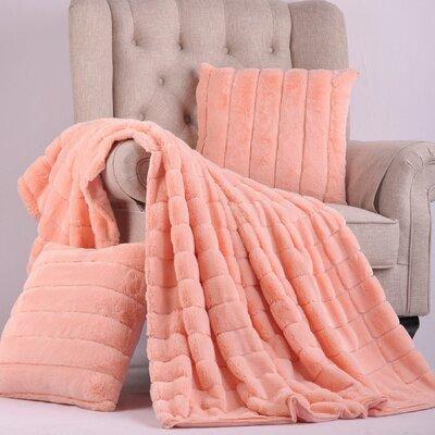 Grenville Rabbit Faux Fur Throw Color: Peach Eco