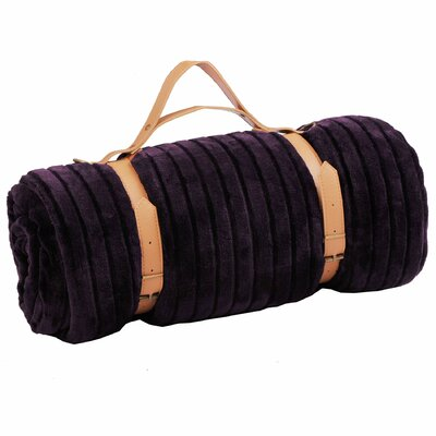 Cutout Travel Flannel and Sherpa Throw Blanket Color: Blackberry Wine
