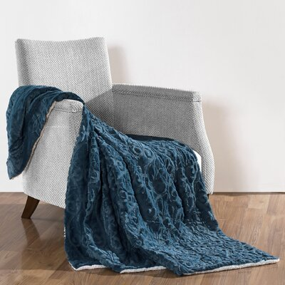 Pamila Faux Fur Sherpa Throw Color: Blue Wing Teal