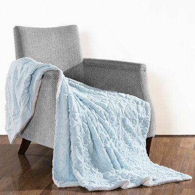 Pamila Faux Fur Sherpa Throw Color: Light Blue