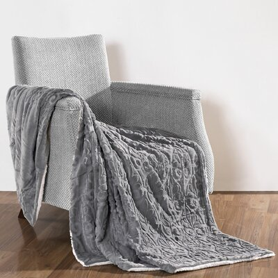 Pamila Faux Fur Sherpa Throw Color: Cloud Burst