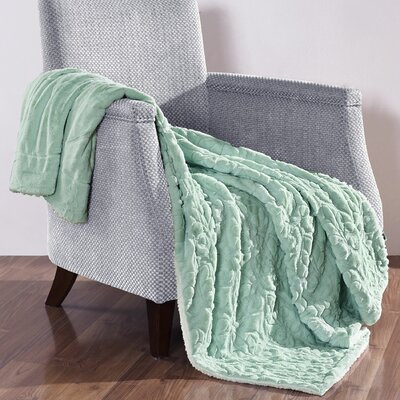 Pamila Faux Fur Sherpa Throw Color: Dusty Blue