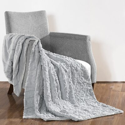 Pamila Faux Fur Sherpa Throw Color: Silver