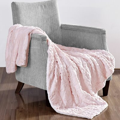 Pamila Faux Fur Sherpa Throw Color: Pink