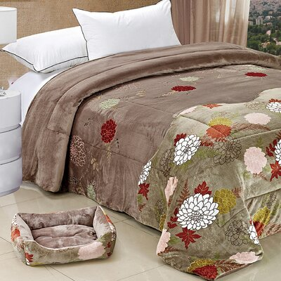 Applique Double Flannel Fleece Throw Blankets Color: Grey