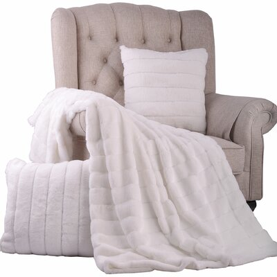 Grover 3 Piece Rabbit Fur Pillow and Throw Set Color: Bright White