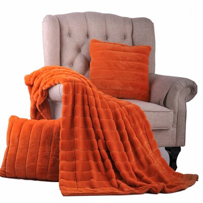 Grover 3 Piece Rabbit Fur Pillow and Throw Set Color: Burnt Orange
